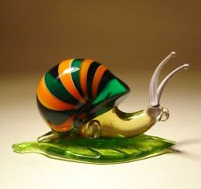 "Blown Glass ""Murano"" Art Figurine Insect Green and Orange Striped SNAIL"