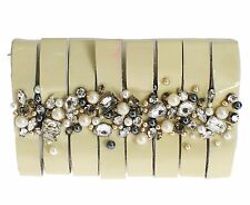 NWT $2820 DOLCE & GABBANA White Leather Crystal Pearls Shoulder Hand Clutch Bag