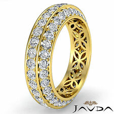 Trio Pave Round Diamond Wedding Womens Eternity Band 14k Yellow Gold Ring 1.75Ct