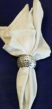 Set of 4  Silver Sequin Napkin Rings Very Festive For WINTER *NEW*