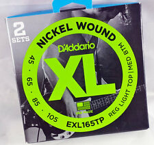 D'Addario EXL165TP NICKEL ROUND WOUND ELECTRIC BASS 4 STRINGS TWO-PACK 45-105