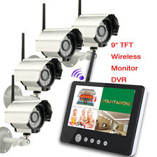 "9""TFT LCD 2.4G 4CH Quad Wireless DVR Security System Monitor Motion 4IR Camera"