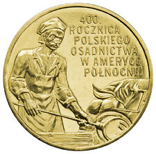 2008 POLAND NORDIC GOLD 2 zl 400 Years of Polish Settlement in North America