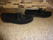Womens Sz 11 MINNETONKA MOCCASINS Black Suede Leather Mocs Shoes Slippers