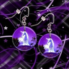 "**MYSTICAL UNICORN** 1"" Button Dangle Earrings **FREE PIN** ~~USA Seller"