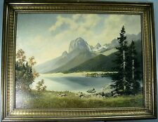 "ORIGINAL OIL PAINTING BY FRITZ MEYER, ""MOUNTAINS"", BORN 1904"