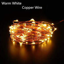 5/10M 20M 30M 50M Copper Silver Wire String Fairy Light Waterproof +Remote+Power