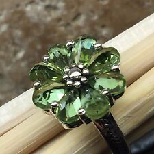 Estate Natural 6ct Peridot 925 Solid Sterling Silver Solitaire Flower Ring sz 8