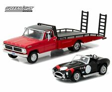 1:64 GreenLight *HD TRUCKS 8* RED 1970 Ford F-350 Flatbed RAMP TRUCK w/COBRA NIP