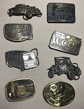 Lot of 8 vintage 70s 80s belt buckles some brass cars more