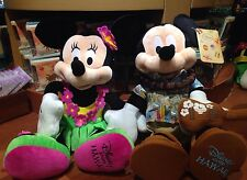 "Disney Store Hawaii 17"" Large MINNIE MOUSE & Mickey Mouse Hulu Ukulele Plush"