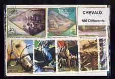 Chevaux 100 timbres différents oblitérés