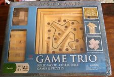 GAME TRIO SOLID WOOD COLLECTIBLE GAMES AND PUZZLES CARDINAL NEW SEALED LABYRINTH