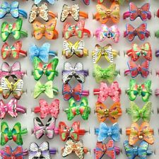 50x/Lot Wholesale Children Kids Girl Butterfly Fimo Rings Cocktail Polymer Clay