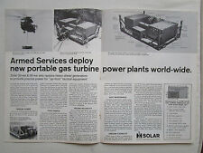 3/1972 PUB SOLAR GAS TURBINE POWER PLANT GENERATOR USAF ARMY ORIGINAL AD