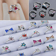 20pcs Wholesale Mix many Cute CZ Crystal Children Kids Silver p Adjustable Rings
