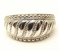 Judith Ripka Sterling Silver Ring Sz 10 Ribbed Cigar Band Big Wide Estate Signed