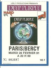 RARE / TICKET DE CONCERT - DEEP PURPLE : LIVE A PARIS ( FRANCE) 1991