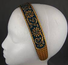 Teal Gold carved look floral vine plastic headband hair band accessory teeth