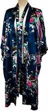 Kimono pyjamas Lingerie gown sexy Japanese Plush Peacock  robe Navy Blue