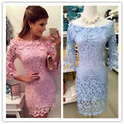 Sexy Women Off Shoulder Crochet Lace Bodycon Cocktail Evening Party Mini Dress
