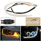 2X 45cm Flexible Soft Tube Guide Car LED Strip White DRL&Amber Turn Signal Light