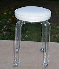 vintage lucite stool Neiman Marcus white cream leather swivel top mid century