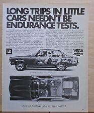 1972 magazine ad for Chevrolet - Vega side & overhead photos, Long Trips easy