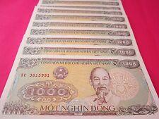 Vietnam Paper Money 10 PCS Bundle 1000 Vietnamese Dong Each Viet Nam Currency