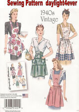 WOMEN VINTAGE Apron Retro 1940's Sewing Pattern 1221 Simplicity Size S-L NEW