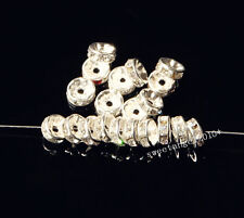 100/300Pcs Silver/Gold Clear Crystal Rhinestone Rondelle Spacer Beads 8mm