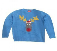 Crazy Grannys Knitted Reggie Reindeer Christmas Jumper Festive Party Outfit (S)