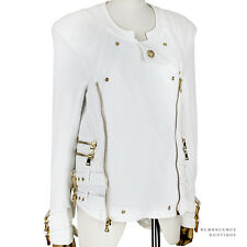 Balmain White Cotton Gold Hardware Slim-Fitting Collarless Biker Jacket FR36 UK8