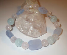 BEAUTIFUL AQUAMARINE  ROSE QUARTZ BLUE CHALCEDONY PEARL NATURAL CRYSTAL BRACELET