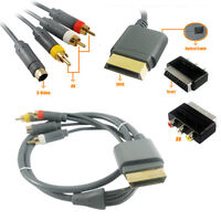 Xbox 360 Audio Video AV Phono SVideo + Scart to RCA Adapter Cable Lead 0.5 Meter