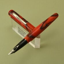 PSP 4cs Acrylic Fountain Pen - Sheaffer Inlaid Nib, Red & Black Swirl (New)