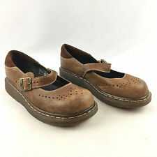Dr. Martens Womens Brown Leather Mary Jane Buckle Slip On Loafer Shoes US 8/UK 6
