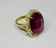 18k Yellow Gold Oval African Ruby and White Round Diamond 23.77ct Ring Size 7