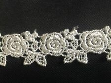 NEW 1 INCHL IVORY  ROSE AND PEDA GALLONL DESIGH VENISE LACE TRIM J'S BUTTON HOLE
