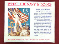 Original Pre-WWII US Navy Recruitment Poster WHAT THE NAVY IS DOING propaganda
