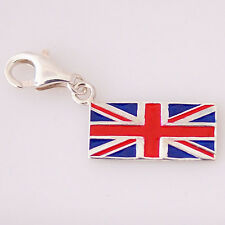 UNION JACK-UK Flag-British-Solid 925 sterling silver clip-on charm/pendant