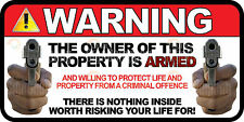 3 pack Owner is Armed Warning Security Guns Firearm CCTV Vinyl Sticker Decal