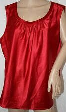 JM SATIN BLOUSE SLEEVELESS TANK TOP SILKY CAMIE RED TUNIC 18