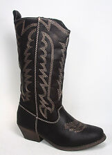 Women's Fashion Low Heel Buckle Slouch Cowboy Mid-Calf Ankle Boot Shoes All Size