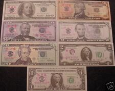 7 x USA USD Novelty Banknotes - Cash Register Quick Practice Test Bill Note -