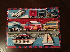"Melissa and Doug ""VEHICLES"" Chunky Wood Puzzle Train Plane Fire Engine Boats Car"