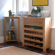 Newark Oak Wine Rack Cabinet, Light Oak, Fully Assembled