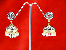 Indian ethnic gold tone cute dotted jhumki with white beads earrings jhumka E474