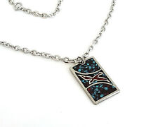 Vintage Bird Pendant Necklace German Silver Blue Turquoise Coral Inlay Southwest