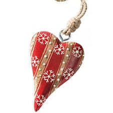 NAMASTE Red White Wooden Hanging Heart Christmas Tree Decoration  Fair Trade